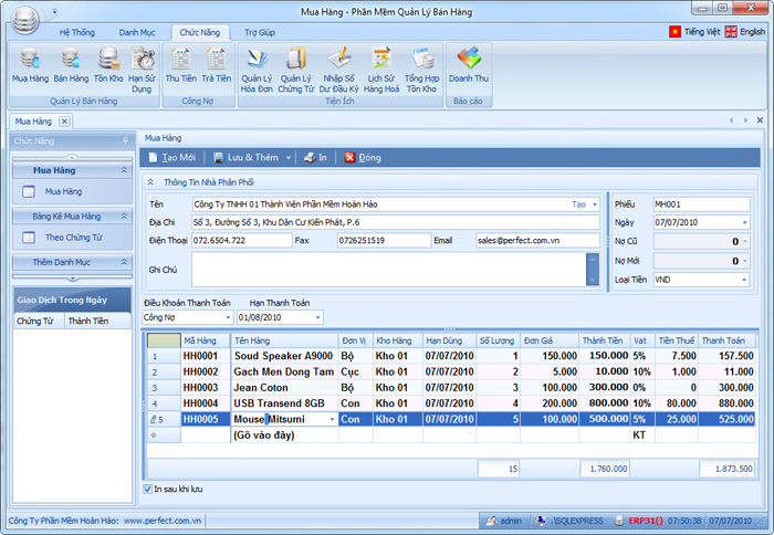 nhapkho Phần mềm quản lý bán hàng